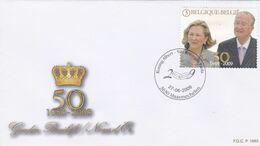 Enveloppe FDC 3921 Noces D'or Roi Albert II Reine Paola Maasmechelen - 2001-10