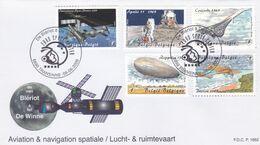 Enveloppe FDC 3916 à 3920 Aviation Et Navigation Spatiale De Blériot à De Winne Transinne - FDC