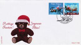 Enveloppe FDC 4087 4088 Joyeuses Fêtes Prettige Feesten Ours En Peluche Waremme - FDC