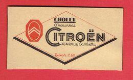 CHOLET 1929 GARAGE CITROEN 41 AVENUE GAMBETTA ET GARAGE A ANGERS 48 BOULEVARD DE SAUMUR CARTE EN TRES BON ETAT - Cholet