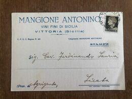 VITTORIA (RAGUSA) MANGIONE ANTONINO VINI FINI DI SICILIA  1940    VINO UVA - Vittoria