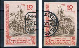 ESPAÑA SEMINARIO ZARAGOZA 2 SELLOS DIFERENTES MATASELLOS - 1931-50 Gebraucht