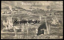 ALTE POSTKARTE HELGOLAND DAS SEEGEFECHT UNTERGANG DER DEUTSCHEN KRIEGSSCHIFFE CÖLN ARIADNE MAINZ V187 Postcard AK Cpa - Helgoland