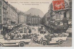 CPA Grenoble - Place Grenette - Départ Central Des Automobiles Des Excursions Dauphinoises (très Jolie Animation) - Grenoble