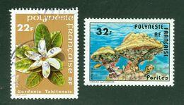 Fleurs + Coraux; Polynésie Française / French Polynesia; Scott # 304 + 311; Usagé (3417) - Polinesia Francese