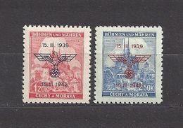 Bohemia & Moravia Böhmen Und Mähren 1942 ** Mi 83-84 Sc 60-61 Errichtung Des Protektorats . German Occupation. - Nuovi