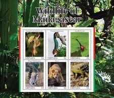 Grenada 2020 Fauna Wildlife Of Madagascar, Gecko, Lemur ,chameleon   I202008 - Grenada (1974-...)