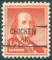 USA Alaska Local Precancel CHICKEN Type 1 1/2c Franklin (*) Vorausentwertung Timbre Préoblitéré # P01-841 - Voorafgestempeld