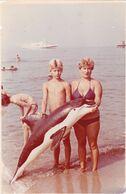 Cute Kid Teen Boy Woman Children Killer Whale Toy Summer Rest Beach Petit Garçon Femme Old Photo Snapshot Swimsuit - Anonymous Persons