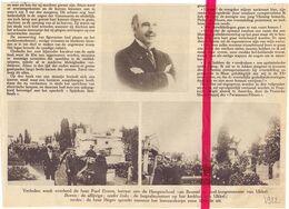 Orig. Knipsel Coupure Tijdschrift Magazine - Ukkel - Begrafenis Oud Burgemeester Paul Errera - 1922 - Ohne Zuordnung