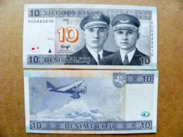 P68 10 Litu Litas Banknote 2007 UNC Avion Pilots Darius Girenas Aircraft Aitplane - Lithuania