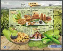 COLOMBIA, 2019, MNH, UPAEP, FOOD, TRADITIONAL COLOMBIAN FOOD, SUGAR CANE, BANANA CHIPS, SHEETLET - Ernährung