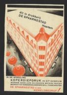 """DRUKKERIJ """" DE SPAARNESTAD """" HAARLEM * KOPERDRUK  * KNIPSEL UIT OUD TIJDSCHRIFT DD 1930 * 17.50 X 12 CM - Advertising"""