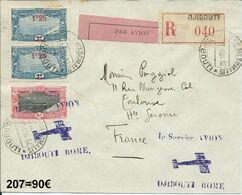 Lettre Par Avion 1er Service Avion Djibouti-Rome   207 - Briefe U. Dokumente
