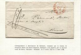 REF1647/ Précurseur LSC Verviers 17//4/1832 Port 10 Par Herve à Henri Chapelle > Moresnet C.Herve 18/4/1832 - 1830-1849 (Unabhängiges Belgien)