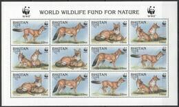 PK174 BHUTAN FAUNA ANIMALS WWF DHOLE 1SH MNH - Sonstige