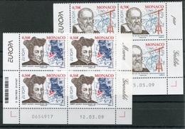 RC 18343 MONACO N° 2682 / 2683 EUROPA 2009 ASTRONOMIE BLOC DE 4 COIN DATÉ NEUF ** TB - Monaco