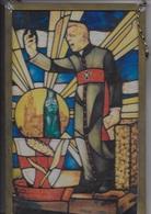 Reproduction D'un Vitrail Du Cardinal Cardijn Sous Cadre En Laiton. Vitrail De Maurtis Nevens. Eglise De Halle. - Religion & Esotericism