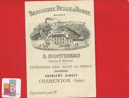 Montereau Seine-et-Marne Brasserie Belle Bonne Malterie Bière Entrepôt Charenton Rare Carte Représentant Illustrée 1890 - Montereau