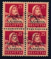 HELVETIA - Dienstmarken/Timbres De Service: S.D.N.- Mi Nr 5 (Viererblock) - Gest./obl. - Oficial