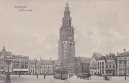 1850287Groningen, Groote Markt Met Tram 12 (poststempel 1913)(minuscule Vouwen In De Hoeken, Linkerhoek Is Aan Het Los - Groningen