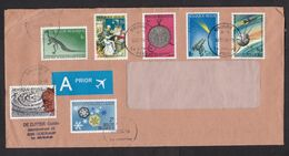 Belgium: Cover, 1996, 7 Stamps, Space Missile, Comet, Telescope, Dinosaur Skeleton, History, Snow (minor Damage) - Storia Postale