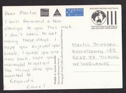 Australia: Stationery Picture Postcard To Netherlands, 1983, 1 Stamp, Maximum Card, Dinosaur, Skeleton (minor Damage) - Lettres & Documents