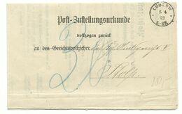 DR EKS LÜBZOW (Pommern) Auf Zustellungsurkunde 1893 Nach Stolp Nachporto - Germania