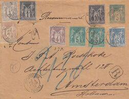 & France Sage Recommandé 1 Er échelon Pour La Hollande Sur Entier Enveloppe SAG D04.. Affranchissement Compose, Multiple - 1876-1898 Sage (Type II)
