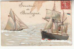 62 - Boulogne-sur-mer - Souvenir - Carte En Relief Avec Ajoutis (1908) - Boulogne Sur Mer