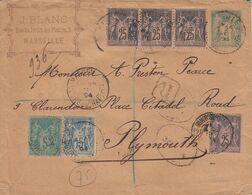 & France Sage Recommandé 4eme échelon Pour L' Angleterre Sur Entier Enveloppe SAG D04 Affranchissement Compose, Multiple - 1876-1898 Sage (Type II)