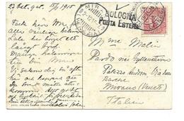 Cartolina Postale From Sverige To Mirano (Veneto) - Bologna Porta Estera 1915. - Marcofilía