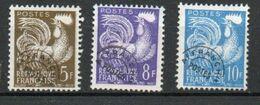 Préoblitérés Yvert N° 107, 109 Et 110, Type Coq Gaulois 5f 8f 10f - 1953-1960