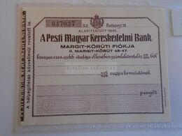 ZA303.9 Hungary  Cheque, Check   Pesti Magyar Kereskedelmi Bank  1930's - Non Classés