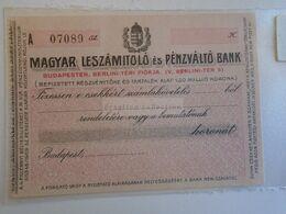 ZA303.10 Hungary  Cheque, Check   Magyar  Leszámítoló és Pénzváltó  Bank  1920's - Non Classés