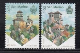 2017 San Marino Europa Castles      Complete  Set Of 2 MNH  @ BELOW FACE VALUE - Saint-Marin