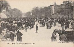 CPA:CAEN (14) MARCHÉ AUX CHEVAUX ANIMÉ - Caen