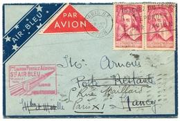 RC 18359 FRANCE LETTRE PAR AVION AIR BLEU 1ere LIAISON PARIS STRASBOURG FFC - Postmark Collection (Covers)
