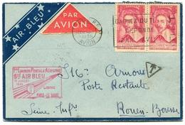 RC 18390 FRANCE LETTRE PAR AVION AIR BLEU 1ere LIAISON PARIS LE HAVRE FFC - Postmark Collection (Covers)