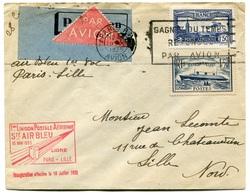 RC 18392 FRANCE LETTRE PAR AVION AIR BLEU 1ere LIAISON PARIS LILLE FFC - Postmark Collection (Covers)