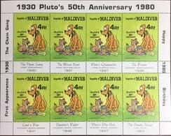 Maldives 1980 Disney Pluto's 50th Anniversary Sheetlet MNH - Maldive (1965-...)
