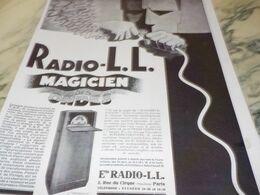 ANCIENNE PUBLICITE MAGICIEN DES ONDES  RADIO LL 1929 - Radio & TSF