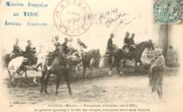 OUDJDA CACHET MISSION FRANCAISE AU MAROC SECTION FRONTIERE LYAUTEY TETE DES TROUPES FRANCAISES - Marruecos