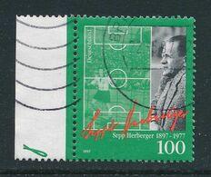 BRD / Bund Mi. 1896 Li. Rand Gest. Sepp Herberger Trainer Deutschland Fussball - WM 1954 - 1954 – Zwitserland