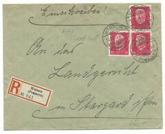 DR Stegstempel WARNOW (POMMERN) (auf Wollin!) Auf R-Brief 1929 Nach Stargard - Storia Postale