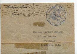 C19 1944 Secrétariat Au Travail A Vichy  Cachet  (coupure En Bas Droite +traces De Colle) - Guerra Del 1939-45