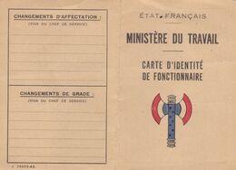 RARISIME ,carte Vierge De L'ETAT FRANCAIS ,ministére Du Travail ,carte D'identité De Fonctionnaire (lot67) - Documenten