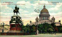 RUSIA // RUSSIE. ST PETERSBOURG. MONUMENT DE NICOLAS I ET CATHEDRALE DE ST ISAAC - Russia