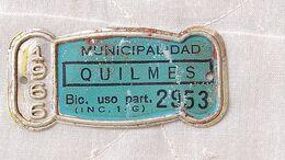 Patente De Bicicleta Bicycle License Plate Argentina 1966 Ciudad De Quilmes  ORIGINAL #16 - Placas De Matriculación