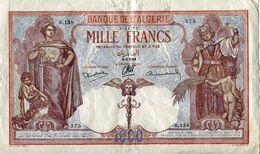 Billet De La Banque De L'ALGERIE - MILLE FRANCS - 9-3-1938 - Algeria